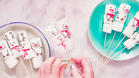Flat lay. Home made marshmallow snowman and reindeer on stick.