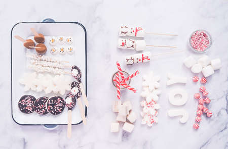 Flat lay. Variety of marshmallow toppings with peppermint and chocolate for hot chocolate and cocoa drinks.