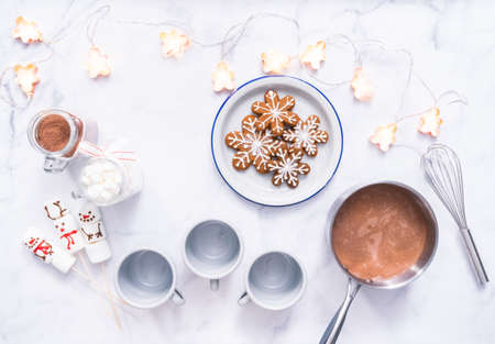 Flat lay. American hot chocolate with marshmallow toppings.