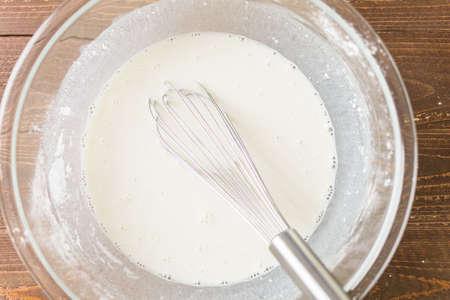 Step by step. Baking peach cobbler with fresh organic peaches.