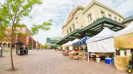 Denver, Colorado, USA-July 22, 2017.  POV point of view - Morning at Farmer's Market near historical Union Station.