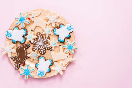 Christmas cookies decorated with royal icing.