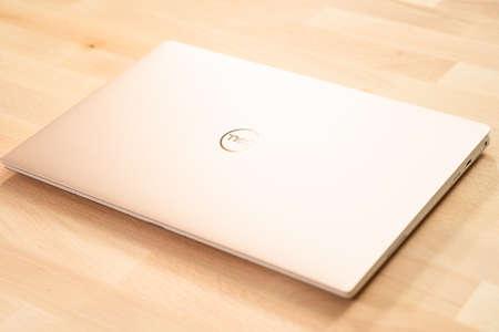 Denver, Colorado, USA-March 24, 2019 - White Dell XPS laptop.