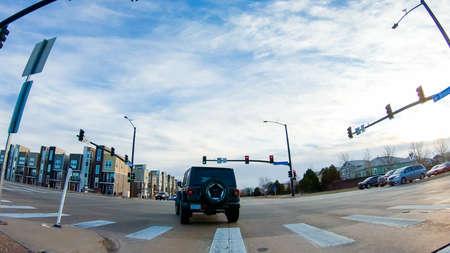 Denver, Colorado, USA-December 26, 2018 - Road intersection in new suburban neighborhood.
