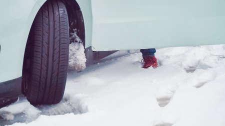 Passenger car in deep snow on small street. Stock Photo