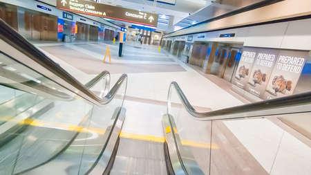 Denver, Colorado, USA-January 11, 2019 - Escalators in one of the terminals at Denver International Airport.