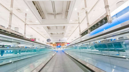 Denver, Colorado, USA-January 11, 2019 - Moving sidewalk in one of the terminals of Denver International Airport.
