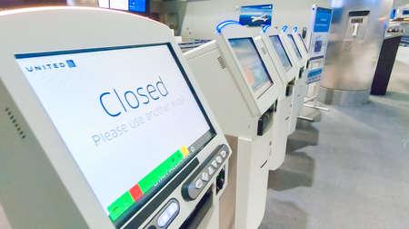 Houston, Texas, USA-January 11, 2019 - Self Service Check In Kiosks in terminal oof Houston International Airport.