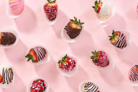 Flat lay. Variety of chocolate dipped strawberries on a pink background.