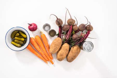 Flat lay. Ingredients to prepare vinaigrette salad on the ocunter. Archivio Fotografico