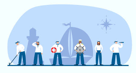 Set of sailors and captain. Collection of flat seaman in uniform. Ship crew. Vector illustration