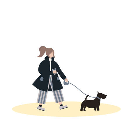 Girl in coat hold coffee cup and walks with dog on leash. Flat cartoon character on isolated white background.