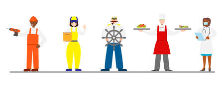 Set with people of different professions. Builder, delivery man, sailor, cook, doctor. Labor day. Stock Illustratie
