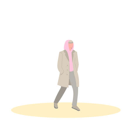 Man walks in a coat and a pink hoodie. Flat vector illustration isolated on white background. Vectores