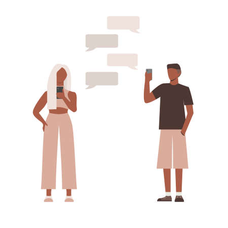 Flat man and women chat with each other. Illustration with speech bubbles. Vector.