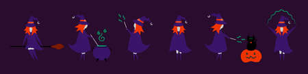 Set of witch character in different pose for Halloween. Costume for masquerade. Cute flat vector illustration on isolated background. Ilustração