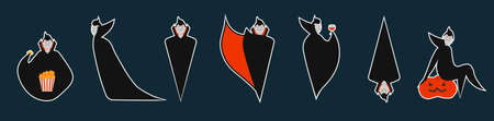 Set of dracula stickers in different pose for Halloween. Costume for masquerade. Cute flat vector illustration on isolated background.