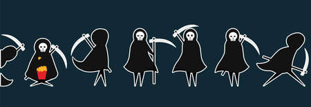 Set of death stickers with scythe for Halloween. Costume for masquerade. Cute flat vector illustration on isolated background.