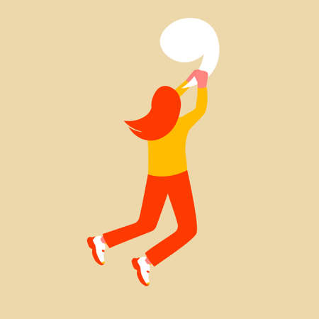 The girl is hanging on a large comma. Flat female character with giant punctuation mark. Vector illustration.