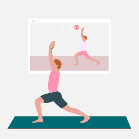 A young man standing in the warrior pose and watching online yoga practice on TV or projector. Stay home concept. Home activity during quarantine. Online courses, education. Eps 10.