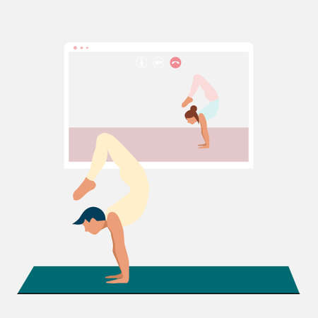 A young man standing in scorpion pose and watching online yoga practice on TV or projector. Stay home concept. Home activity during quarantine. Online courses, education. Eps 10.