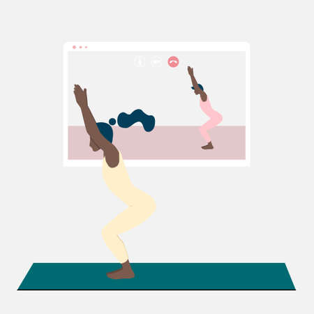 A young black woman standing in chair pose and watching online yoga practice on TV or projector. Stay home concept. Home activity during quarantine. Online courses, education. Çizim