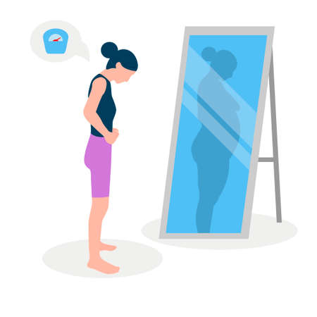 Flat vector illustration of a skinny girl with low self-esteem standing in front of a mirror. The girl looks into her distorted reflection.