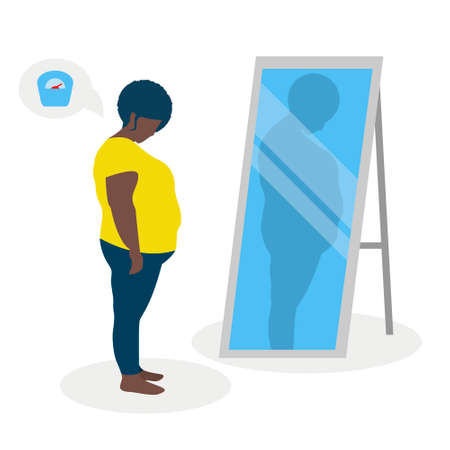 Flat vector illustration of a black fat girl with low self-esteem standing in front of a mirror. The girl looks into her distorted reflection. Illusztráció