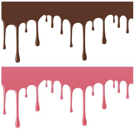chocolate melt: senza soluzione di continuit� cioccolato fuso e caramelle, utilizzato materiale riflettente Vettoriali