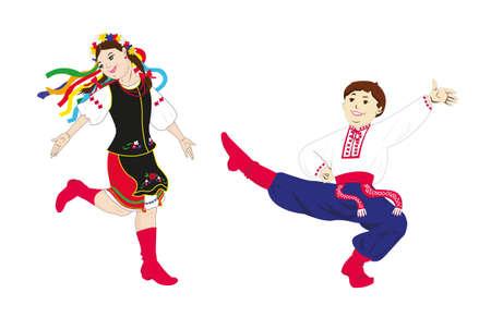 Ukrainian folk dancers - a boy and a girl in ukrainian folk costume is smiling and dancing. Vector illustration.