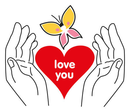 """Heart in hands with written text """"Love you"""" on it and butterfly flying above - isolated on white background Vektorové ilustrace"""