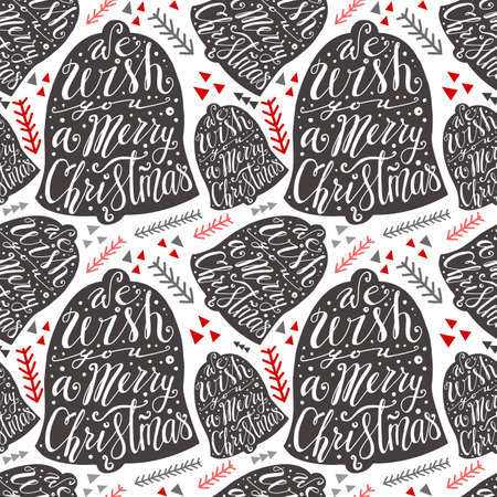 Christmas pattern with Christmas bells. Bell with handwritten lettering. A very Merry Christmas. Gray bells on the white background with floral elements Çizim