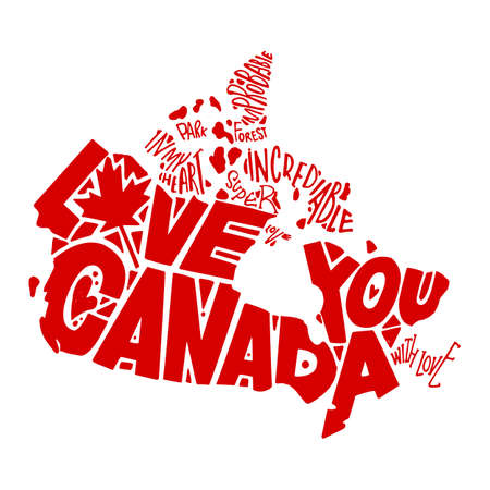 Independence Day of Canada. Love you Canada. Handsome hand-painted. Words are inscribed in the silhouette of the country Canada. Red on a white background.