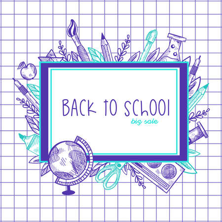 Back to school lettering in frame with doodle elements.