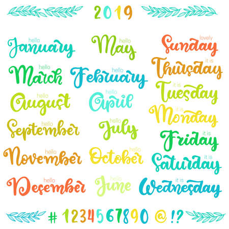 Trendy hand lettering set of months of the year words. Brush handwritten names of months and days of the week.
