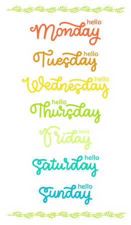 Trendy hand lettering set of days of the week. Brush handwritten names of days. Vectores