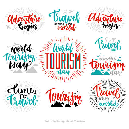 Beautiful lettering for tourism day with flat. World Tourism Day. Adventure begin. Tourism day. Travel around the world. Travel time.
