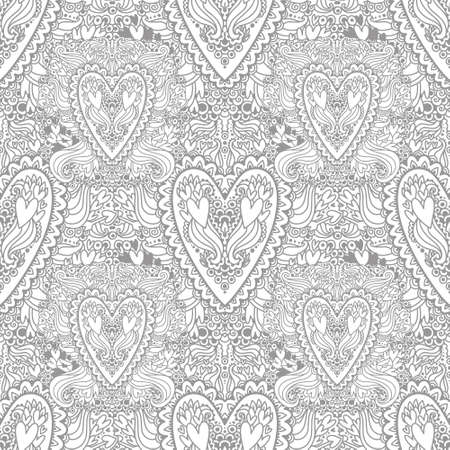 Coloring picture with the doodle hearts pattern. Antistress freehand sketch drawing of doodle hearts. Coloring Pages. Coloring Book for adults
