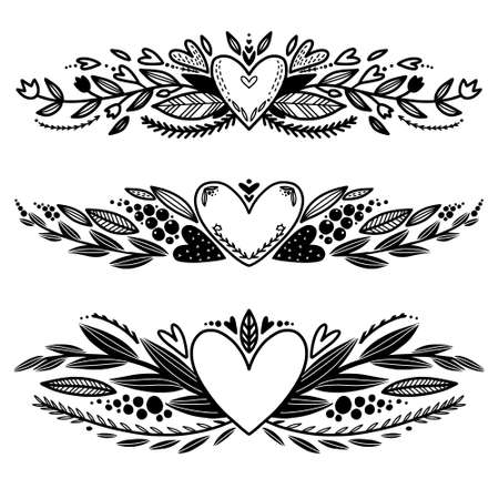 Set of hand drawn love decorative borders coloring. Beautiful borders with heart, leaves, brunches. Valentines day borders. Coloring page
