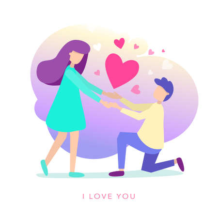 Vector flat style illustration of a man and woman. The guy is kneeling in front of a girl to declaration of love. Minimalism design with exaggerated objects. Characters in front concept