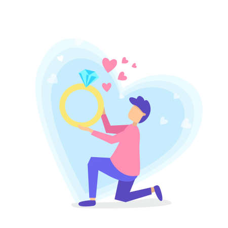 Vector flat style illustration of a man. Young man makes on knee keep engagement ring. Minimalism design with exaggerated objects. Characters in front concept