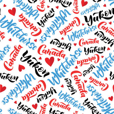Pattern with lettering of Canada, Yukon, Whitehorse. Background for tourist information signs, travel guides, tourist signs, cards, souvenir