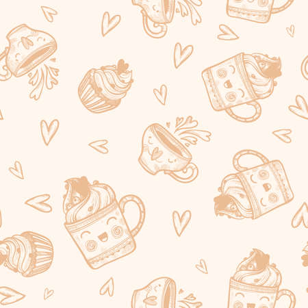 Cute hand drawn pattern with cupcakes, ice-creame, coffee, tea, heart. Love pattern for cover. Pattern for packaging