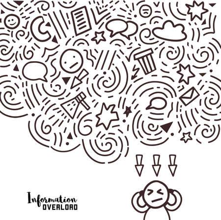 Illustration élégante de la sursaturation des réseaux sociaux dans le style du doodle.