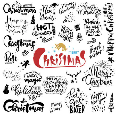 Set of hand drawn christmas quotes with lettering. Freehand Fonts with Christmas Wishes for cards, paper, banners Vetores