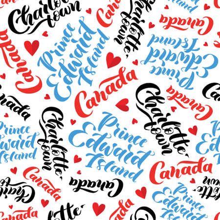 Pattern with lettering of Canada, Charlottetown, Prince Edward Island. Background for tourist information signs, travel guides, tourist signs, cards, souvenir