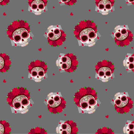 Sugar skull pattern. Day of the dead. A skull with a wreath of red flowers and hearts