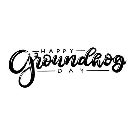 Beautiful writing by hand. Happy Groundhog day! Beautiful lettering for a postcard, banner, poster and other. Inscription for the holiday