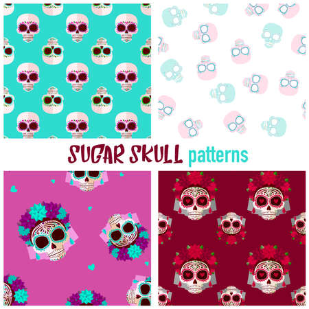 Sugar skull patterns. Day of the dead.Bright Sugar skull pattern. Background in sweet colors Çizim