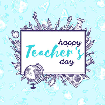 Happy Teachers day. Back to school lettering in frame with doodle elements. Chalk board with quoter. Illustration